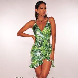 White Green Palm Print Ruched Dress